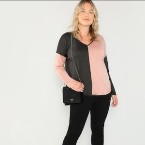 Color block dusty rose pink and charcoal gray top